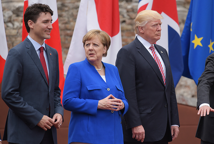 Justin Trudeau, Angela Merkel, and Donald Trump at the G7 in May 2017, Italy
