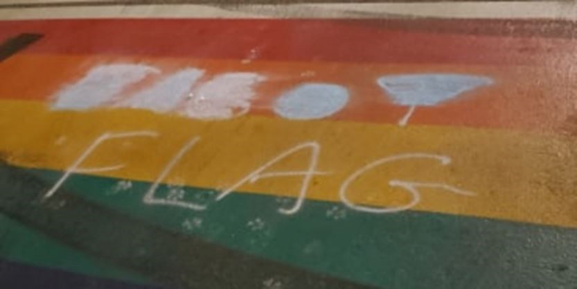 Vandalized pride flag