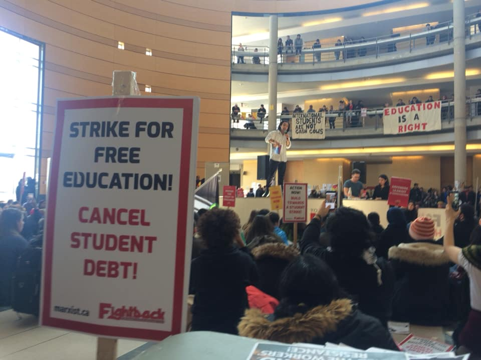 Fightback comrade Klam Bell speaking at York University student walk out (Photo Credit: Fightback)