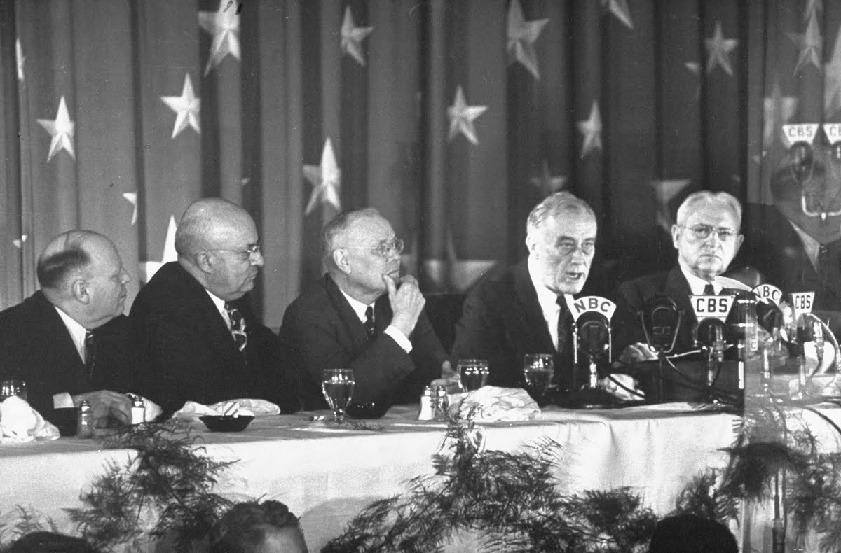 Teamsters President Daniel J. Tobin (far right) pictured next to Franklin D. Roosevelt. (LIFE photo collection)
