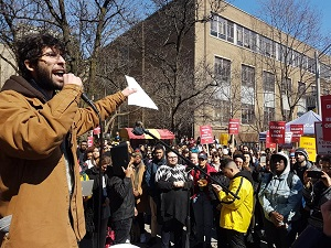 Marco La Grotta addressing Ryerson Students at walkout (Photo Credit: Fightback)
