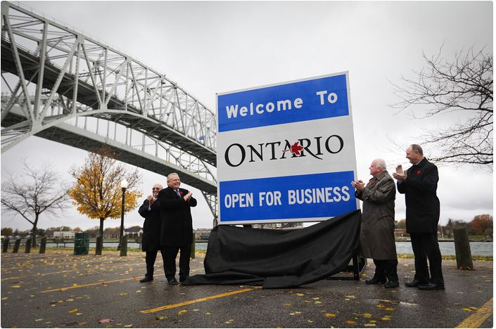 Doug Ford unveils $106,000 Open for Business sign (Source: news.ontario.ca)