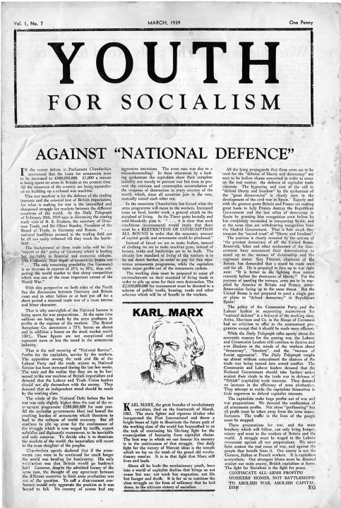 WIL's newspaper Youth For Socialism, March 1939. Lead article by Ted Grant / Image: Ted Grant Archive