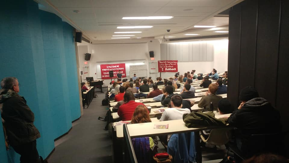 La Riposte at the University of Quebec in Montreal speaking on fighting the CAQ