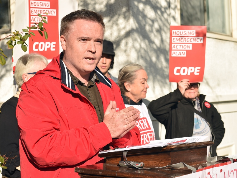 COPE council candidate Derrick O'Keefe (Photo Credit: Dan Toulgoet / Vancouver Courier)
