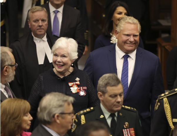 Premier Doug Ford enters the Ontario Legislature with Lt.-Gov. Elizabeth Dowdeswell in July. (RICHARD LAUTENS / TORONTO STAR)