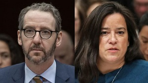 Gerald Butts, left, and former Attorney General Jody Wilson-Raybould, right,. (Justin Tang/Canadian Press, Chris Wattie/Reuters)