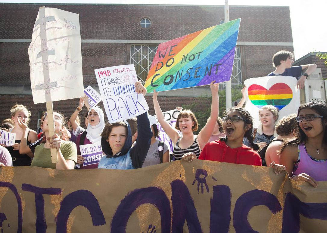 Students at Bloor Collegiate Institute rallying in Toronto on Friday to protest the sex ed curriculum. (Photo Credit: Nathan Denette/ The Canadian Press)