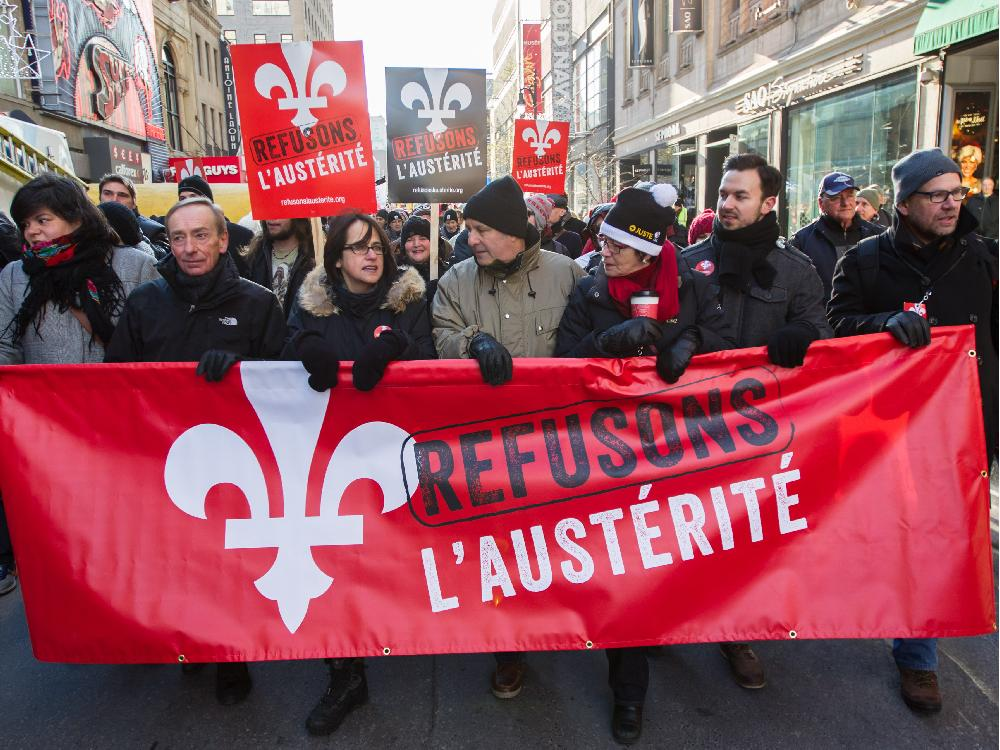 Quebec students marching behind anti-austerity banner
