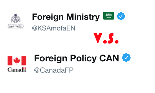 Picture of Canada and Saudi Foreign Affair Twitter Accounts