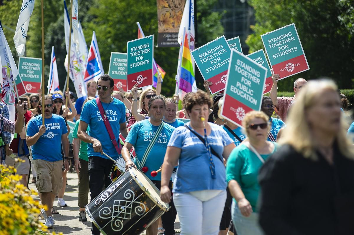 Teachers rally at Queen's Park to protest the Ford's rollback of sex education curriculum.  (Photo Credit: EDUARDO LIMA / STAR METRO)