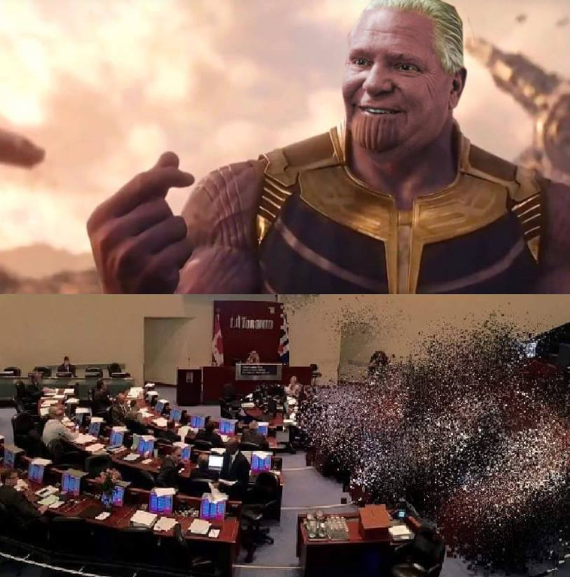 Ford as Thanos, cutting city council in half
