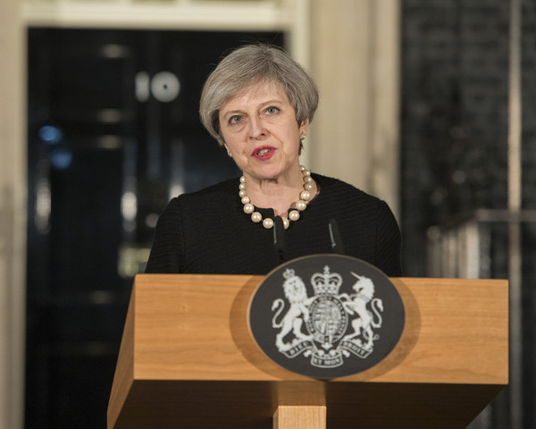 Theresa May giving a statement about the terrorist attack in Westminster on 22 March 2017 - Photo: Number 10
