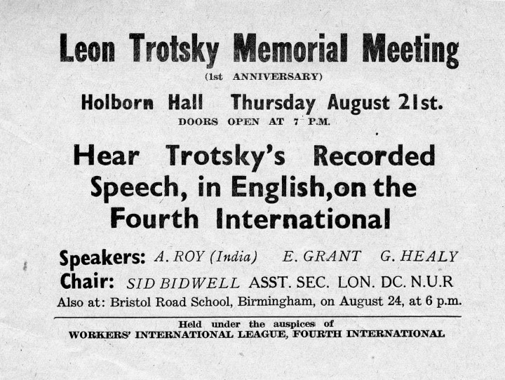 Leaflet for WIL's Trotsky Memorial meeting, August 1942 / Image: Ted Grant Archive