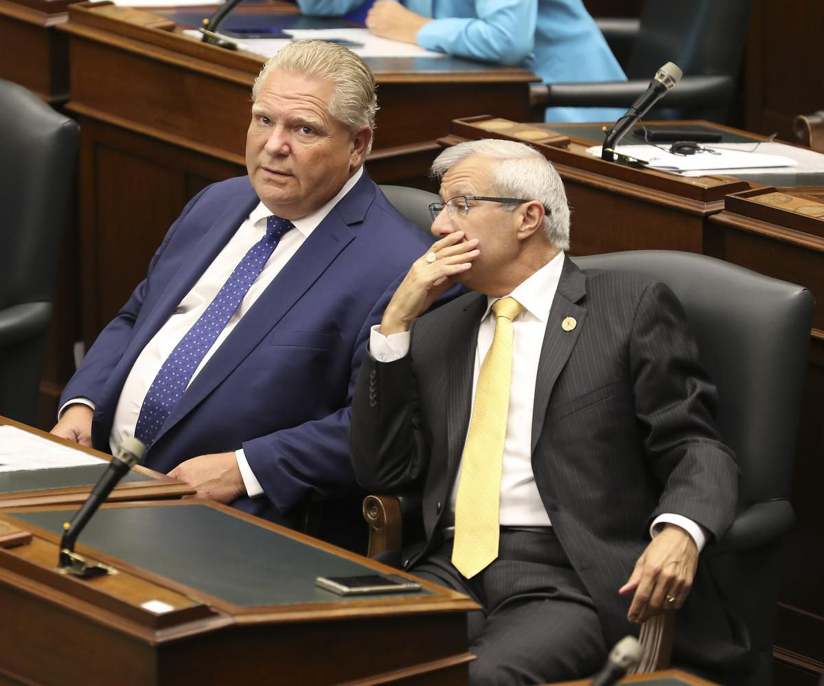 Finance Minister Vic Fedeli with Premier Doug Ford  (Photo Credit: RICHARD LAUTENS / TORONTO STAR)
